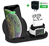 Xelsa 3 in 1 Wireless Fast Charging Station for Apple Watch Airpods Charger Dock Stand Compatible for iPhone X/XS/XR/Xs Max / 8/8 Plus Samsung Galaxy S9 / S9+ / S8 / S8+ / Note 8 + QC3.0 Adapter