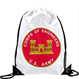 Large Drawstring Bag with US Army Corps of Engineers, branch plaque - Long lasting vibrant image