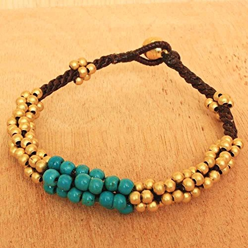 Turquoise Bracelet made with Brass Bell, Fair Trade Handmade Jewelry