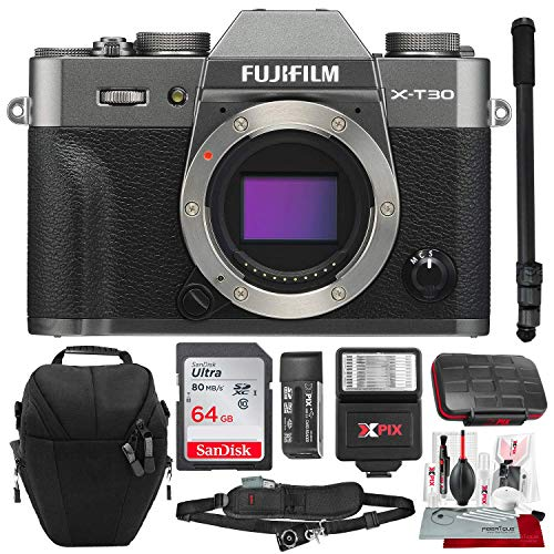 Fujifilm X-T30 4K Wi-Fi Mirrorless Digital Camera (Body Only) - Charcoal Silver with 64GB Deluxe Bundle and Travel Photo Cleaning Kit