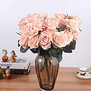 Artificial Silk Fake Flowers Rose Floral Decor Bouquet- 10 Heads Fake Flowers for Decoration in Vase- Silk Flowers in Vase for Home Decor- Dusty Rose Silk Flowers- Bunch Roses (Lilac Pink) 5