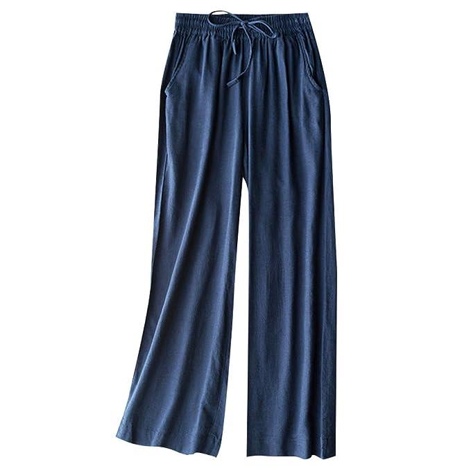 RISTHY Pantalones Anchos Mujer Pantalones Talle Alto Ancho ...