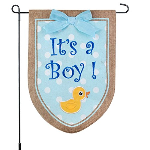 Garden New Yard Banner Sign - New Baby Banner Its A Boy Garden Flag, Yard Sign, Car Decoration - Blue Duck Design On Burlap Banner - 12x18 - Home Garden Flag