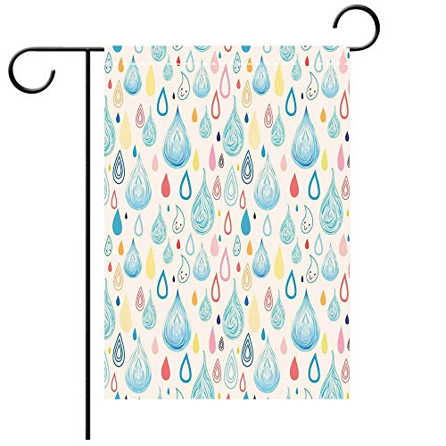 (BEICICI Double Sided Premium Garden Flag Home Decor Various Large and Small Heavy Rain Drops Fluid Squall Graphic Art Print Multi Best for Party Yard and Home Outdoor Decor)