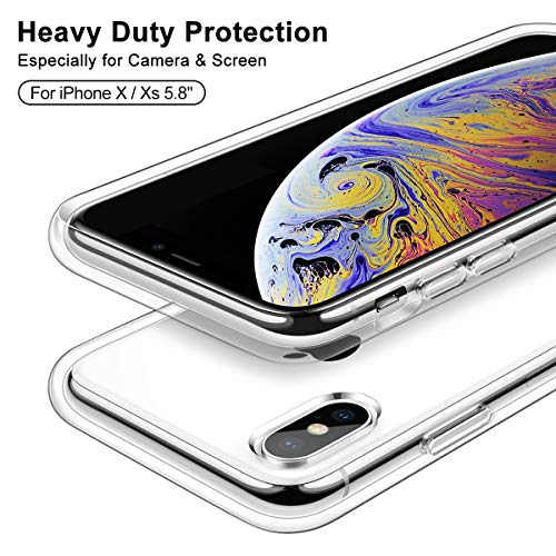 Meifigno Clear Designed for iPhone X/Xs Case, [Certified Military Protection] [Anti-Yellow] Transparent Hard PC with…