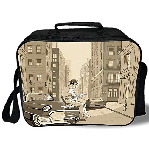 Jazz Music 3D Print Insulated Lunch Bag,Illustration of a Guitarist in an Old Street of New York Buildings Music Cityscape,for Work/School/Picnic,Beige