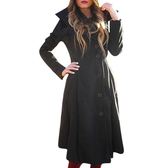 Kollmert Women Fashion Button Closure Asymmetrical Winter Hoodie Long Trench Jackets (Black, S)