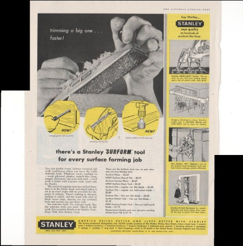 Stanley Surform Tool For Every Surface Forming Job 1960 Antique Advertisement