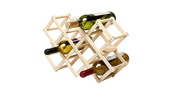 Diseño de acordeón plegable geométrico 10-bottle madera vino rack/organizador pantalla – MyGift: Amazon.es: Hogar
