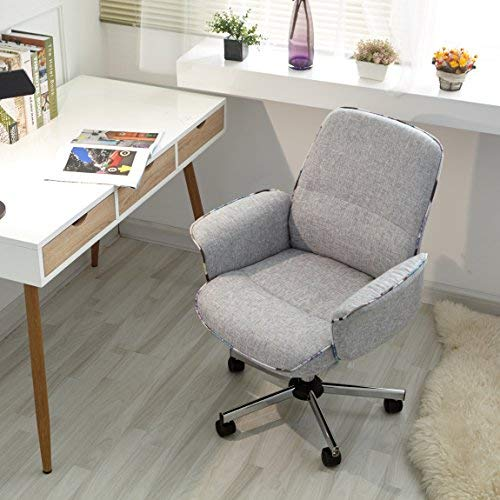 Homy Casa Home Office Chair Upholstered Desk Chair Fabric Executive Chair (Grey,Mid-Backrest)