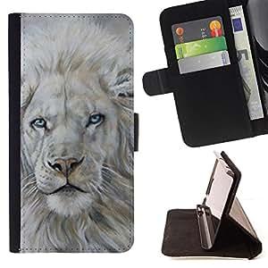 - White Lion Snow Painting King Animal Fur - - Prima caja de la PU billetera de cuero con ranuras para tarjetas, efectivo desmontable correa para l Funny HouseFOR HTC One M8