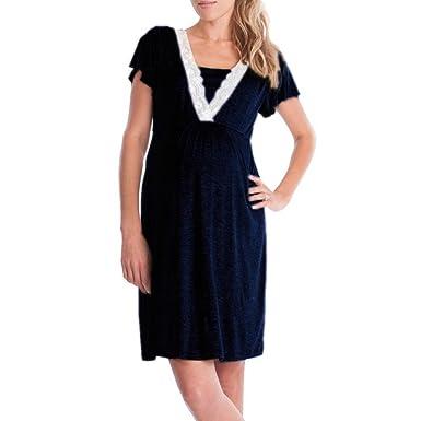 Gusspower Vestido de Maternidad Lactancia de Mujer,Vestido de Embarazada de Manga Larga Rayas premam/á Vestir en casa