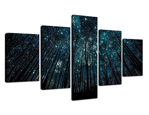 - Yatsen Bridge Prints Black Forest Pictures Starry Night Birch Tree Painting Contemporary Wall Art 5 Piece Artwork Canvas Stretched Framed Home Decor Living Room Ready to Hang(70''W x 40''H)