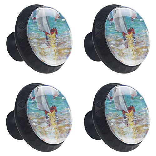 DEYYA 4 PCS Sailboat Print Art Crystal Glass Drawer Knob Pull Handle 30mm Ergonomic Circle Furniture Cabinet Handle for Kitchen Dresser Cupboard Wardrobe ()