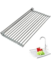 """HemFns Roll Up Dish Drying Rack, 17.6""""x 12"""" Foldable Sink Drying Rack, 304 Stainless Steel and Silicone Over Sink Drying Rack Kitchen Drainer Rack for Dishes, Cups, Fruits"""