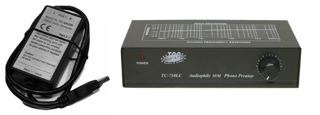 Technolink TC-750LC Audiophile RIAA Phono Preamp with Output Level Control, 85dB S/N; BLACK or SILVER, Your Choice (BLACK w/ USB)