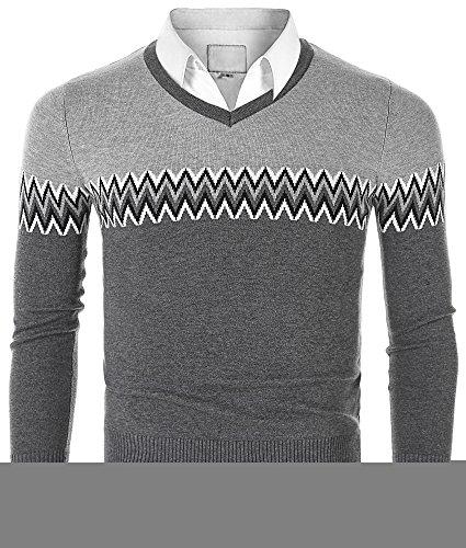 Stripe V-neck Cardigan (Mocotono Men's V Neck Stripe Pullover Cotton Sweater Dark Gray XL)