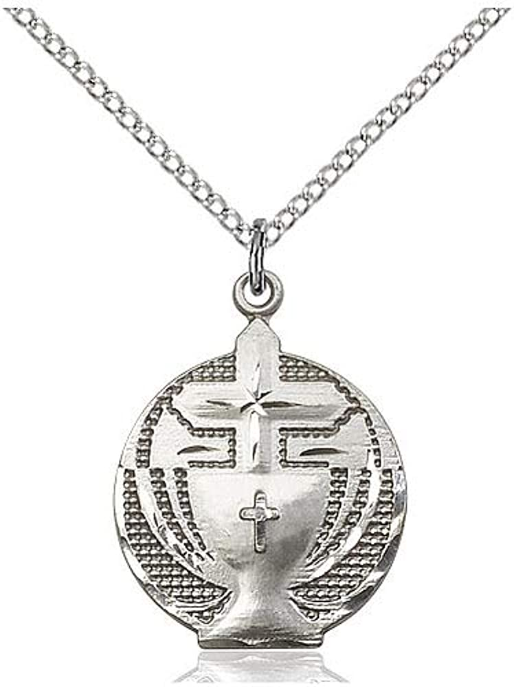 Sterling Silver Holy Communion Pendant with 18 Sterling Silver Lite Curb Chain.