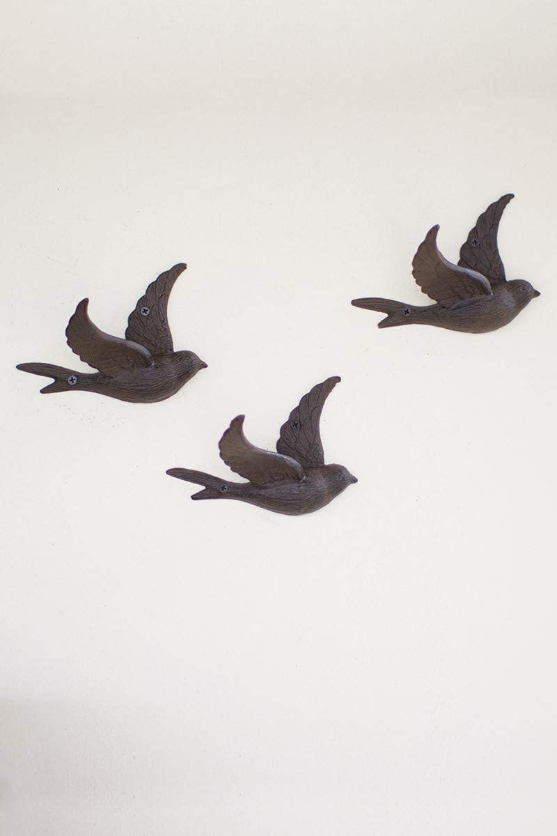 "Kalalou CYB1262 CAST IRON FLYING BIRD WALL HOOK,Dark Grey,6.4""L x 3.9""W x 0.67""H"