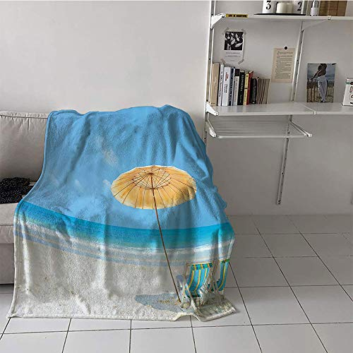 alilihome Children's Blanket Soft Warm Blanket (30 by 50 Inch,Coastal Decor Collection,Clean Calm Sea and Sunbeds for Couples in Love Relaxation Space in Thailand Photography,Blue Aqua