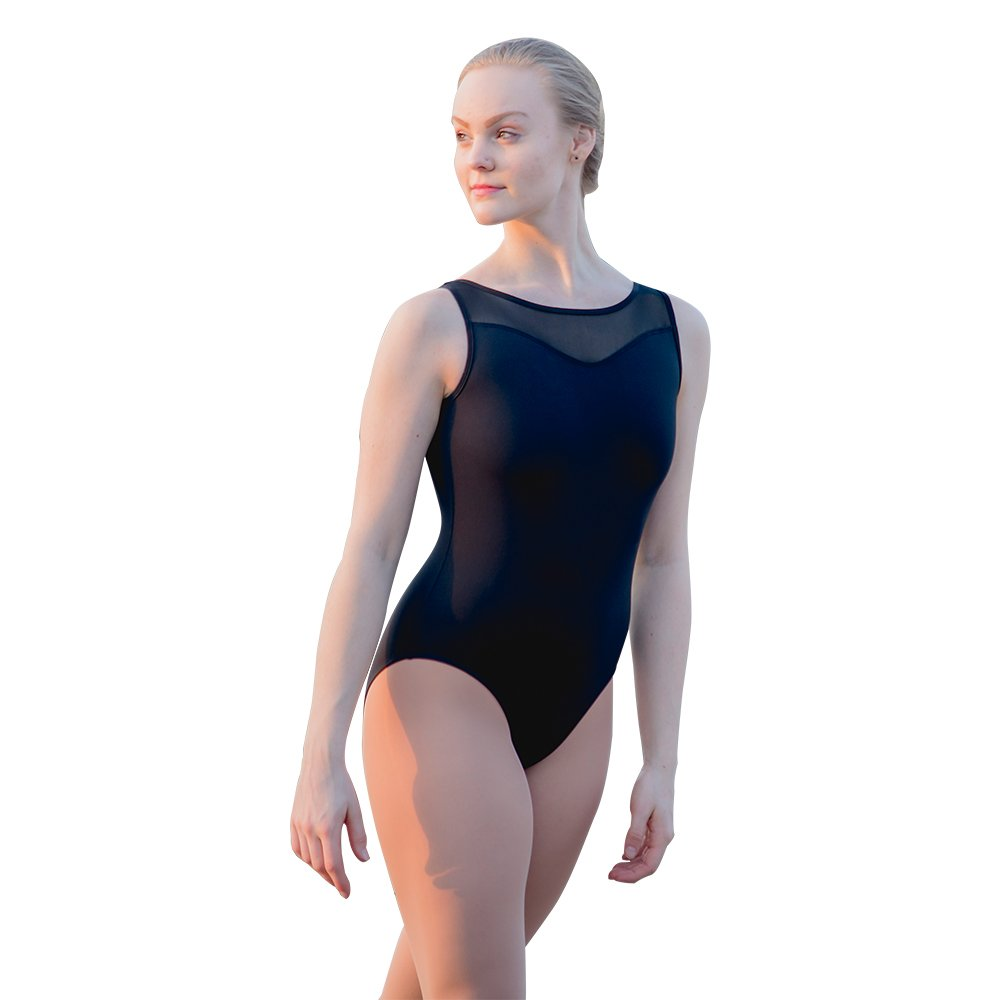 HDW DANCE Black Women Dance Leotard Ballet Sweetheart Mock Neck Mesh Dancewear (S, Black) by HDW DANCE