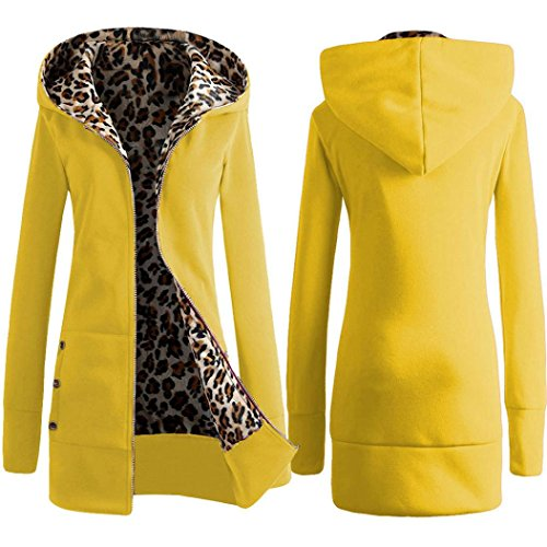 Contrast Leather Sneaker Yellow (Gillberry Women Plus Velvet Thickened Hooded Sweater Leopard Zipper Coat (S, Yellow))