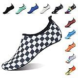 ROTOK Water Shoes Aqua Socks Barefoot Outdoor Beach Sport Yoga Swim Surfing Shoes Non-Slip for Men Women (XL(Women:10.5-11,Men:8-9), White/Navy)