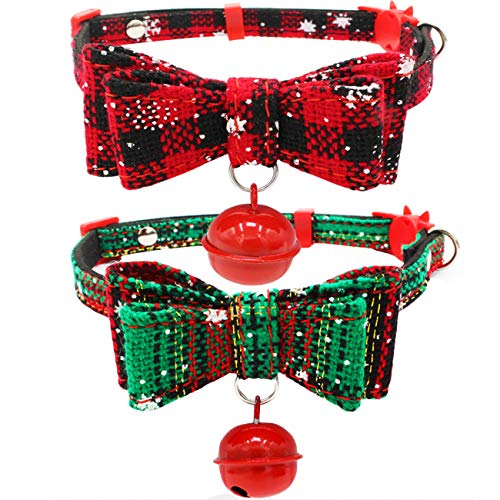 Bow Accessory Tie (Malier 2 Pack Christmas Pet Collar for Puppies Cats Adjustable Cat Collars with Bow Tie & Bell Pet Costume Accessories Decoration for Small Dogs Cats Pets (S))