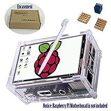 "Haiworld Touchscreen KIT For Raspberry Pi 3 2 Model B B+, 3.5"" 480x320 RGB Pixels Touch Screen + Transparent Protective Case + 3pcs Heat sinks (3 Items)"