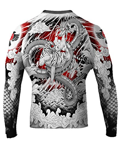 Raven Fightwear Men's Tiger & Dragon MMA BJJ Rash Guard White