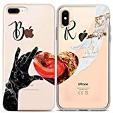 Lex Altern Matching Custom iPhone Case Xs Max Xr X 10 8 Plus 7 6s 6 SE 5s 5 Apple Marble Heart Clear TPU Love Couple Monogram Relationship Name Phone Silicone Cover Her Him Protective Soft
