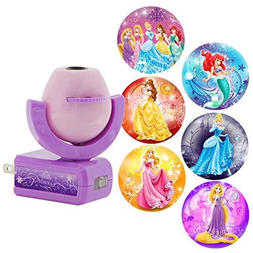 Projectables 11738 Six Image Princess LED Plug-In Night Light, Pink and Purple, Light Sensing, Auto On/Off, Projects Disney Characters Cinderella, Ariel, Belle, and Rapunzel on Ceiling, Wall, or ()
