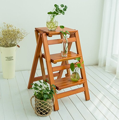 1 Step Stool Solid Wood Shelf Household Ladder Folding Ladder Shelving Wooden Ladder Ladder Multifunctional Indoor Home Climbing Ladder Step stool (color   1)