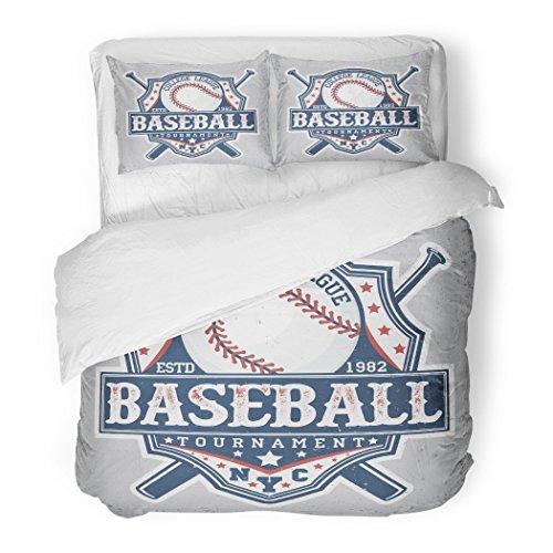 SanChic Duvet Cover Set Jersey Creative Vintage Graphic Design Grange Stamp Baseball Emblem Sports Soccer Decorative Bedding Set with 2 Pillow Shams Full/Queen Size by SanChic