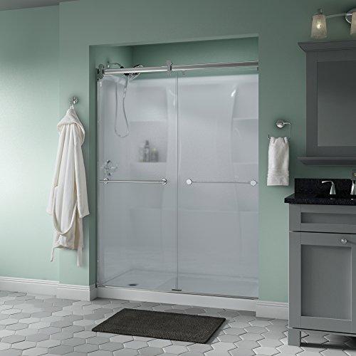 "Delta Shower Doors SD3172700 Trinsic 60"" x 71"" Semi-Frameless Contemporary Sliding Shower Door in Chrome with Niebla Glass"