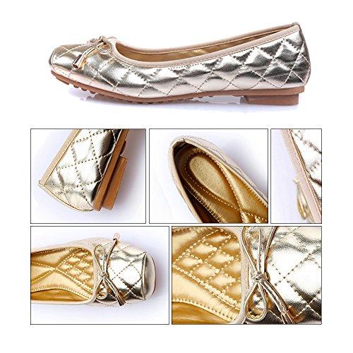 golden Bowknot Slim Last Square 37 Women Shoes Flat Thin qw601H