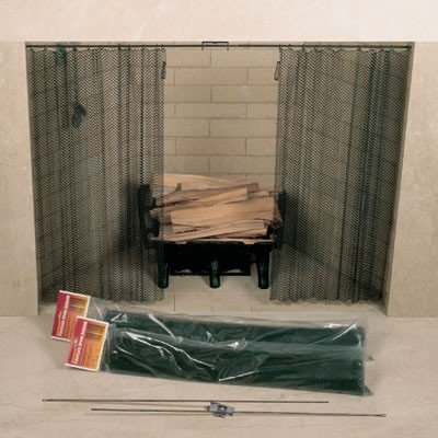 Wrought Iron Woodbasket - 48in. X 24in. Fireplace Spark Screen Rod Kit Not Included