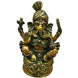 Shri Ganesha Wearing a Pagdi Handmade Brass Statue Gift from Indiaby DakshCraft