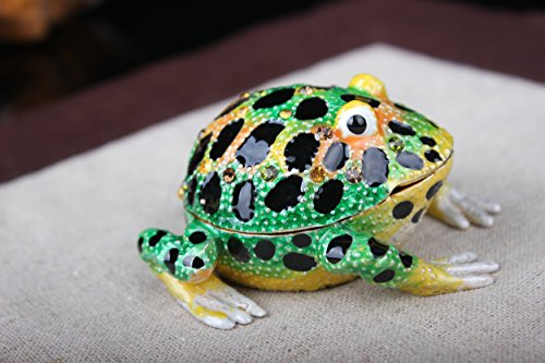 znewlook Hinged Frog Jeweled Trinket Box Funny Belly Frog Jewelry Box with Big Eyes ()