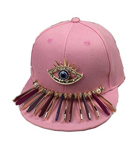 micrkrowen Children's Fashion Personality Hat Eye Decoration Hip-Hop Cap(Pink) by micrkrowen
