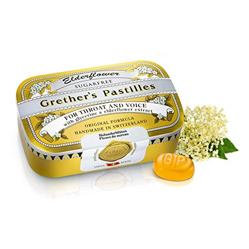 GRETHER'S Pastilles for Throat and Voice, Elderflower, Sugar Free, 110 g/3.75 oz by GRETHER'S