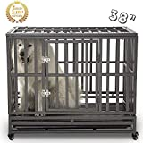 SMONTER 38' Heavy Duty Strong Metal Dog Cage Pet Kennel Crate Playpen with Wheels, I Shape, Dark Silver …
