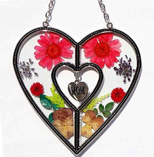 ca2b02b6a05a Stained Glass Suncatchers for Windows Mom Glass Suncatchers Windows with  Pressed Flower Heart - Glass Heart