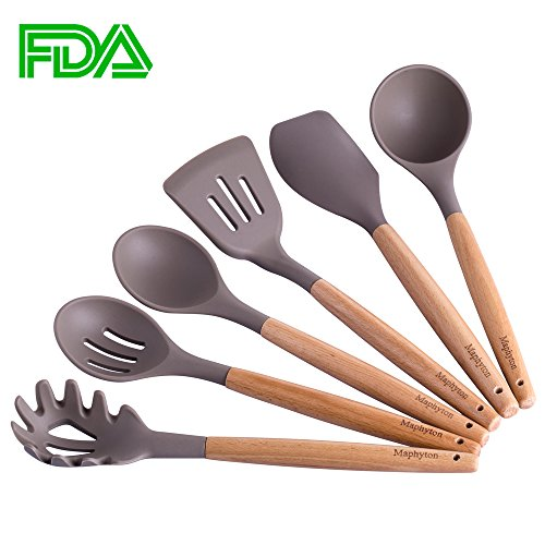 (Silicone Cooking Utensils, 6 Pieces Nonstick Kitchen Utensil Set BPA Free with Natural Acacia Hard Wood Handle)