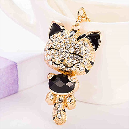 Cute Kitten Cat Bling Crystals Rhinestone Key Chain Keyring Holder Handbag Charm For Pet Lover (Black)