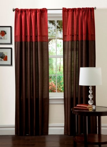 Lush Decor Geometrica Drapery,  Merlot/Chocolate, 54 x 84,  Panels, Pair by Lush Decor