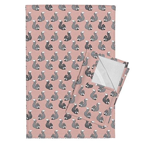 Roostery Squirrel Woodland Scandinavian Animal Girls Illustration Fall Tea Towels Cute Kids Pink Coral Squirrel by Littlesmilemakers Set of 2 Linen Cotton Tea Towels by Roostery