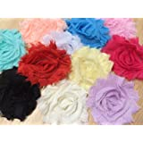 10pc 2.5 Shabby Chiffon Flowers Fabric Flowers Embellishment [Office Product] by PEPPERLONELY