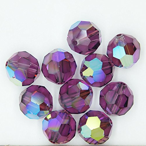 (Amethyst Purple AB Iris Rainbow 8mm Swarovski Crystal Beads. Round. Made in Austria. Pack of 10)