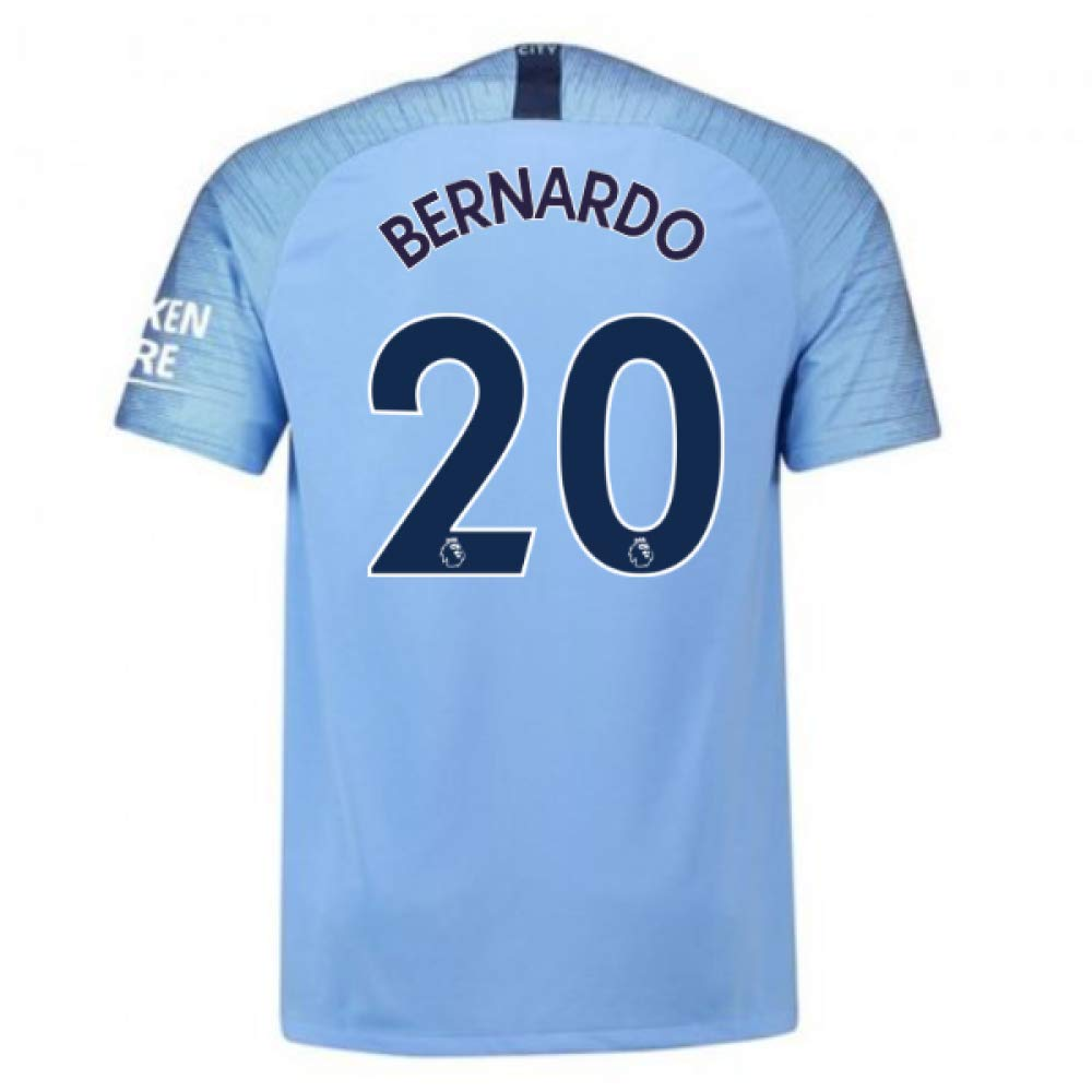2018-2019 Man City Home Nike Football Soccer T-Shirt Trikot (Bernardo Silva 20) - Kids